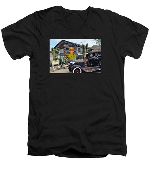 Hackberry Route 66 Auto Men's V-Neck T-Shirt by Kyle Hanson