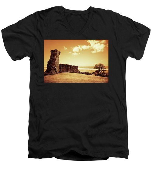 Hadleigh Castle Men's V-Neck T-Shirt by Joseph Westrupp