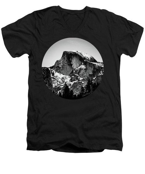 Half Dome Aglow, Black And White Men's V-Neck T-Shirt by Adam Morsa