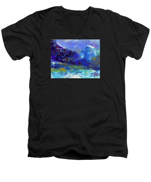 Half Dome Winter Men's V-Neck T-Shirt by Walter Fahmy