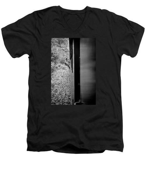 Half In Half Out Of The Train In The Mountains Men's V-Neck T-Shirt by Kelly Hazel