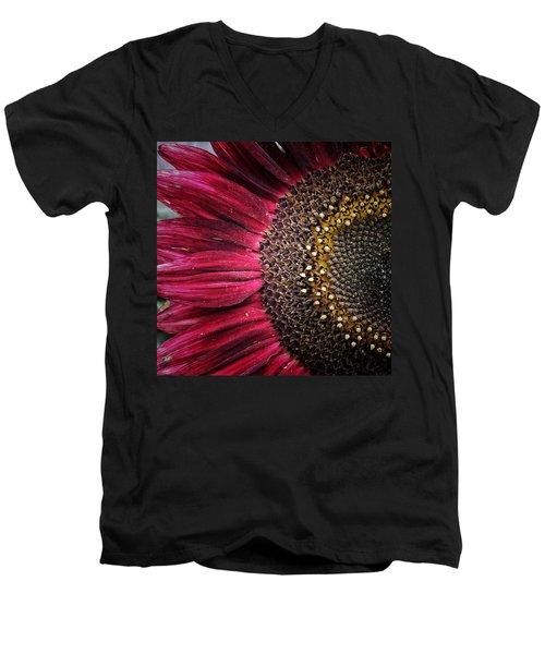 Half Red Men's V-Neck T-Shirt by Karen Stahlros