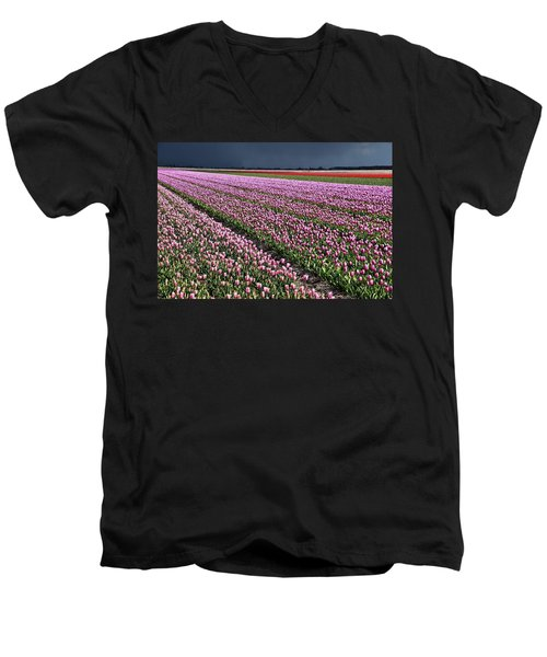 Half Side Purple Tulip Field Men's V-Neck T-Shirt by Mihaela Pater