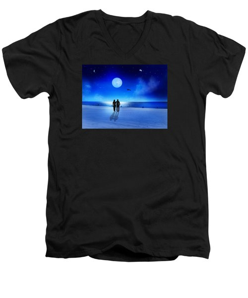 Night Blessings Men's V-Neck T-Shirt by Bernd Hau