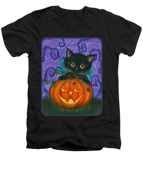 Halloween Black Kitty - Cat And Jackolantern Men's V-Neck T-Shirt
