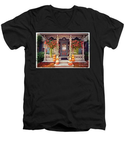 Halloween In A Small Town Men's V-Neck T-Shirt by Mary Machare