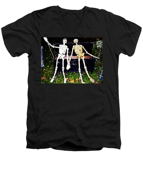 Halloween Skeleton Couple Men's V-Neck T-Shirt