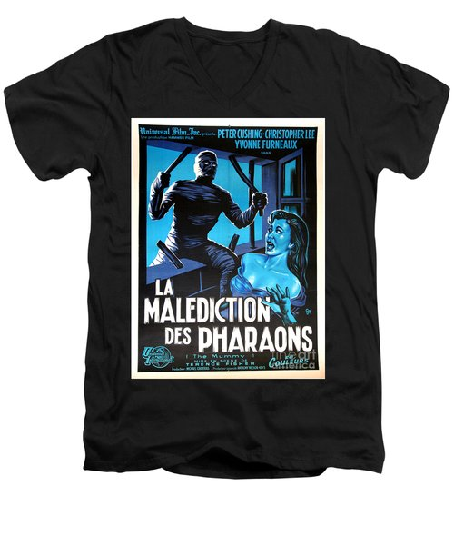 Hammer Movie Poster The Mummy La Malediction Des Pharaons Men's V-Neck T-Shirt by R Muirhead Art