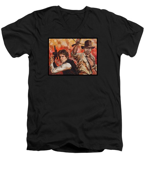 Han Solo And Indiana Jones Men's V-Neck T-Shirt