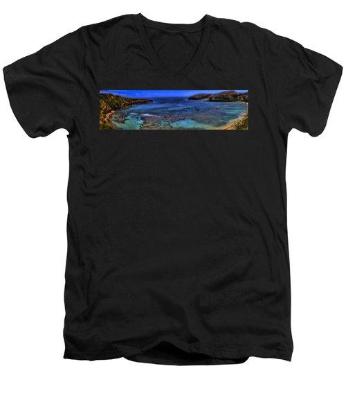 Men's V-Neck T-Shirt featuring the photograph Hanauma Bay Panorama by Ellen Heaverlo