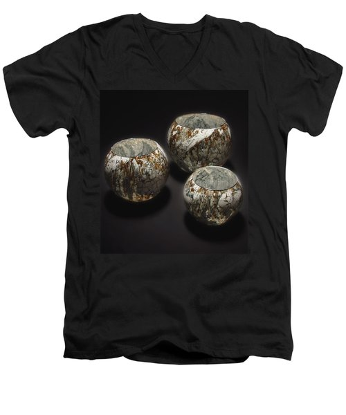 Hand Painted Glass Set Of Three Brown White Men's V-Neck T-Shirt