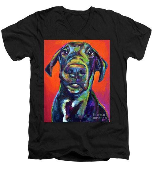 Handsome Hank Men's V-Neck T-Shirt by Robert Phelps