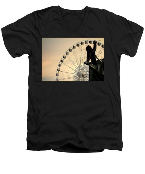 Men's V-Neck T-Shirt featuring the photograph Hanging On The Wheel by Valentino Visentini