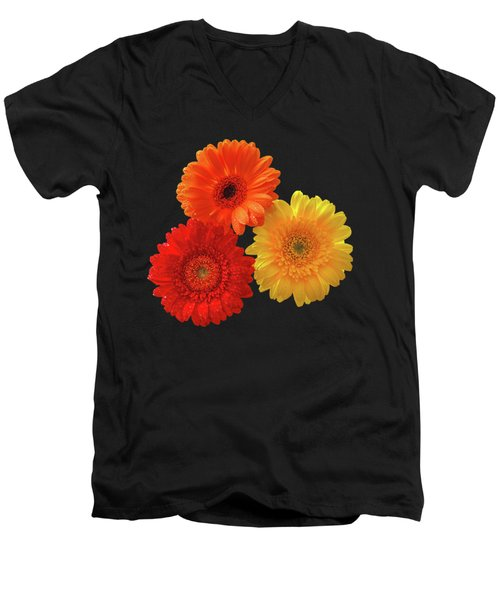 Happiness - Orange Red And Yellow Gerbera On Black Men's V-Neck T-Shirt by Gill Billington