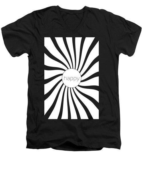 Happy - Black And White Swirl Men's V-Neck T-Shirt