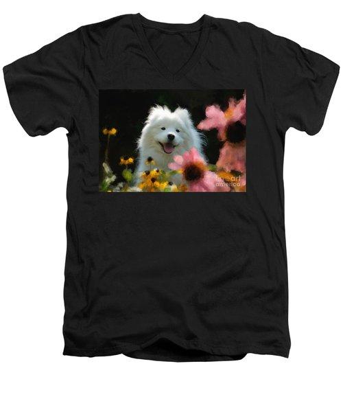Happy Gal In The Garden Men's V-Neck T-Shirt