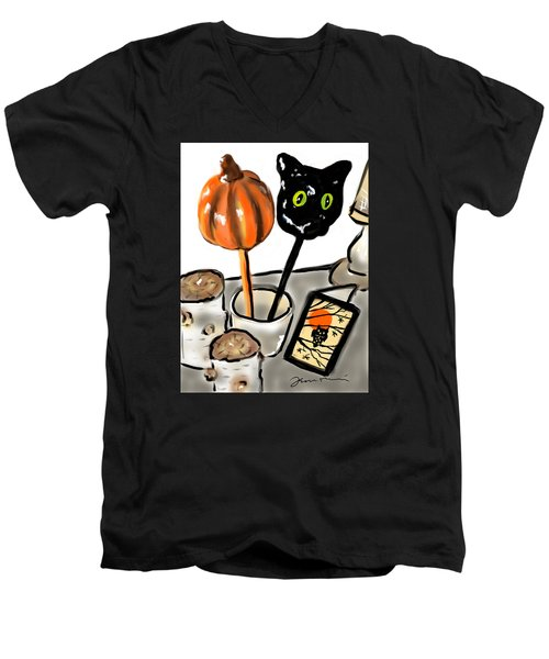 Happy Halloween Men's V-Neck T-Shirt by Jean Pacheco Ravinski