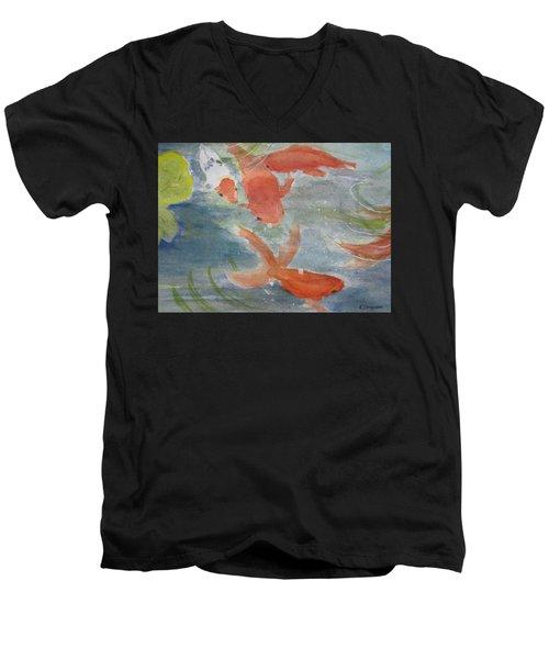 Happy Koi Men's V-Neck T-Shirt by Elvira Ingram