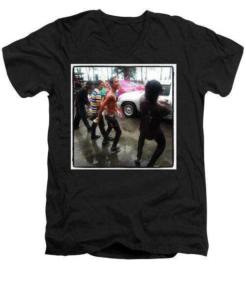 Men's V-Neck T-Shirt featuring the photograph Happy Songkran. The Water Splashing by Mr Photojimsf