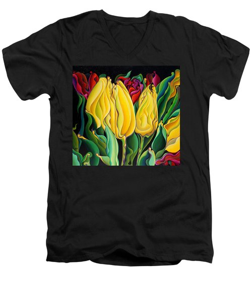 Happy-time Yellow Three-lips Men's V-Neck T-Shirt