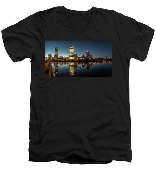 Men's V-Neck T-Shirt featuring the photograph Harbor House View by Randy Scherkenbach