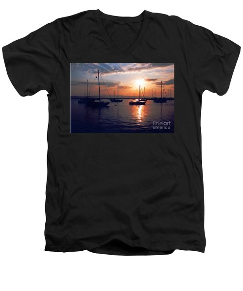 Harbor Sunrise Men's V-Neck T-Shirt