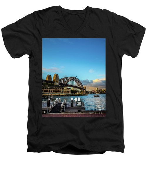 Men's V-Neck T-Shirt featuring the photograph Harbour Sky by Perry Webster