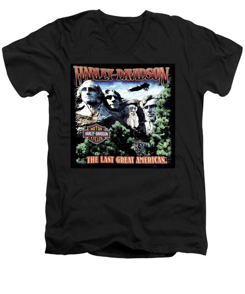 Harley Davidson The Last Great American Men's V-Neck T-Shirt by Gina Dsgn