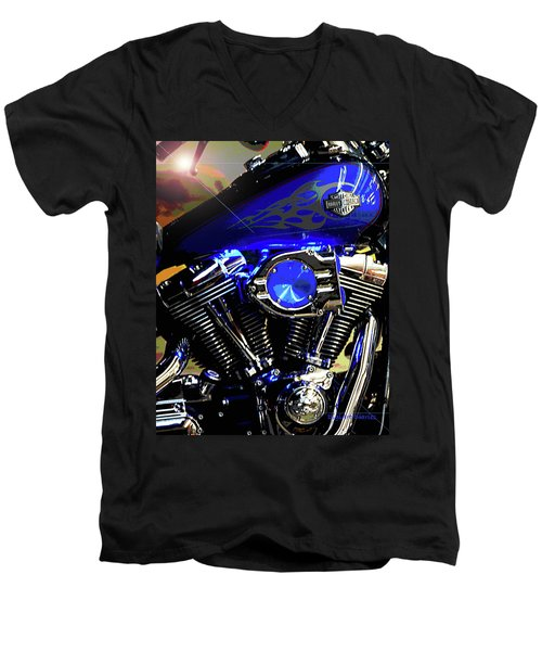 Harleys Twins Men's V-Neck T-Shirt by DigiArt Diaries by Vicky B Fuller