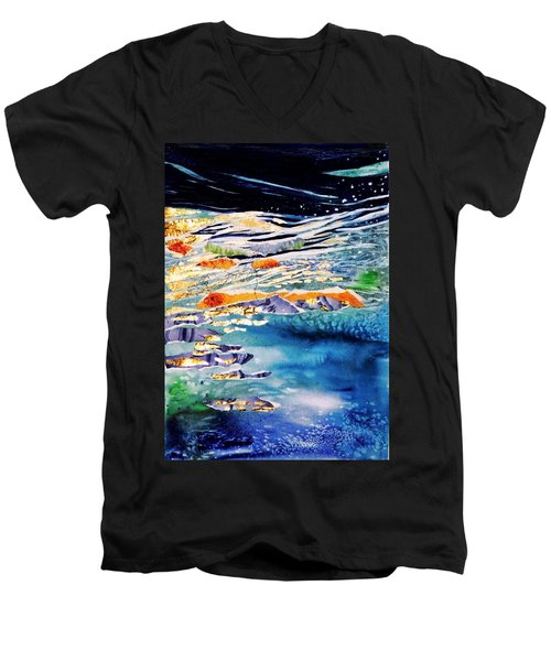 Harmony In Blue And Gold  Men's V-Neck T-Shirt by Trudi Doyle