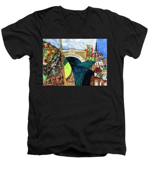 Harpers Ferry Rivers, Railroads, Revolvers Men's V-Neck T-Shirt