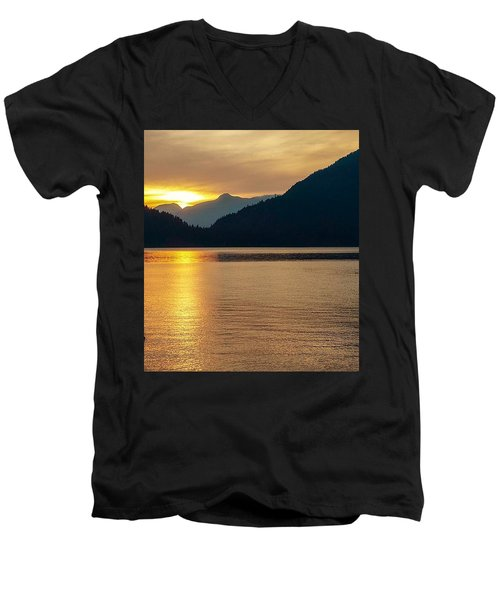 Harrison Lake, British Columbia Men's V-Neck T-Shirt by Heather Vopni