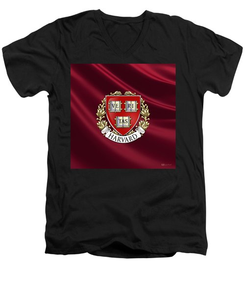 Harvard University Seal Over Colors Men's V-Neck T-Shirt by Serge Averbukh