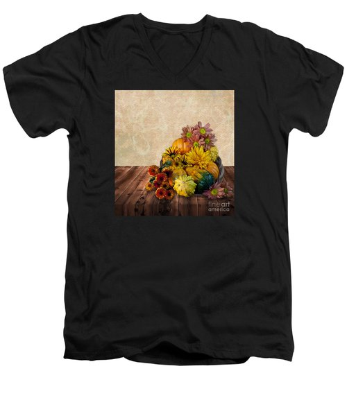 Men's V-Neck T-Shirt featuring the photograph Harvest Bounty by Shirley Mangini