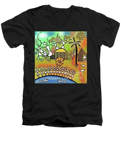 Men's V-Neck T-Shirt featuring the digital art Harvest by Latha Gokuldas Panicker