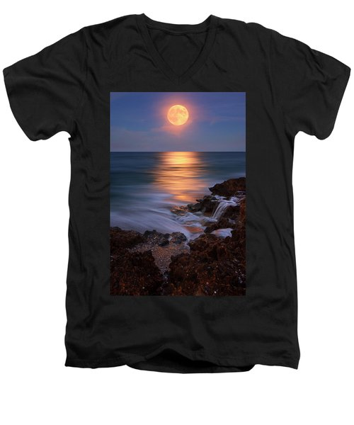 Harvest Moon Rising Over Beach Rocks On Hutchinson Island Florida During Twilight. Men's V-Neck T-Shirt by Justin Kelefas