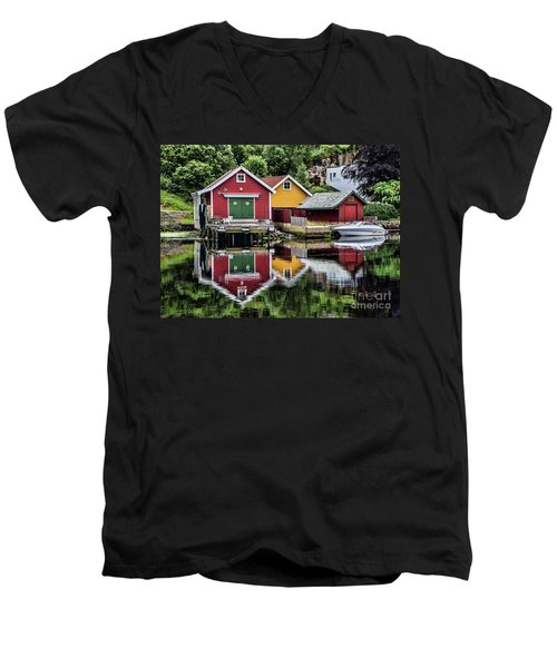 Haugesund Reflections Men's V-Neck T-Shirt by Shirley Mangini