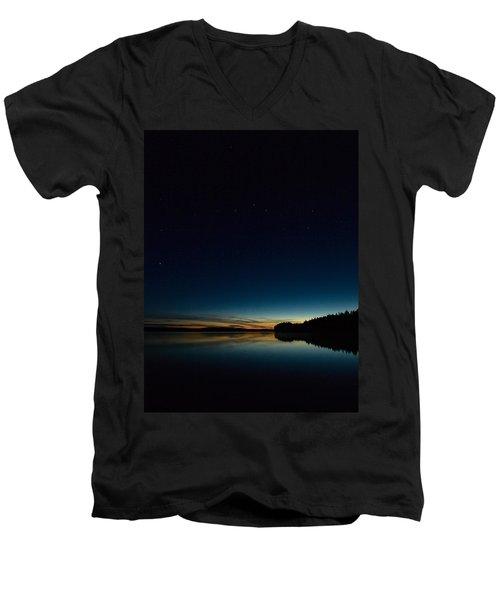Men's V-Neck T-Shirt featuring the photograph Haukkajarvi By Night With Ursa Major 2 by Jouko Lehto