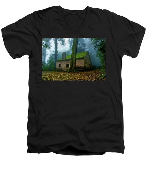 Men's V-Neck T-Shirt featuring the photograph Haunted House by Jorge Maia