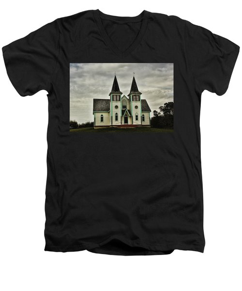 Men's V-Neck T-Shirt featuring the photograph Haunted Kipling Church by Ryan Crouse