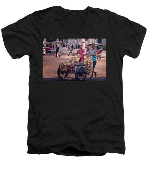 Men's V-Neck T-Shirt featuring the photograph Havana Cuba Onion Cart by Joan Carroll