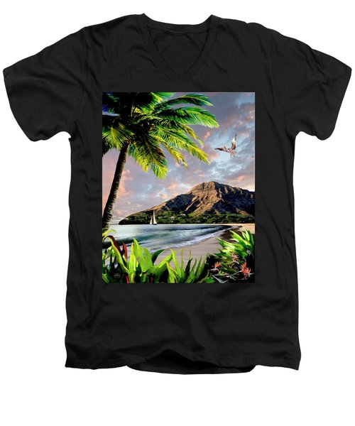 Hawaii Sunset Men's V-Neck T-Shirt by Ron Chambers