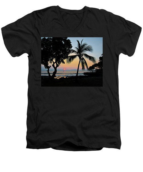 Hawaiian Big Island Sunset  Kailua Kona  Big Island  Hawaii Men's V-Neck T-Shirt by Michael Bessler