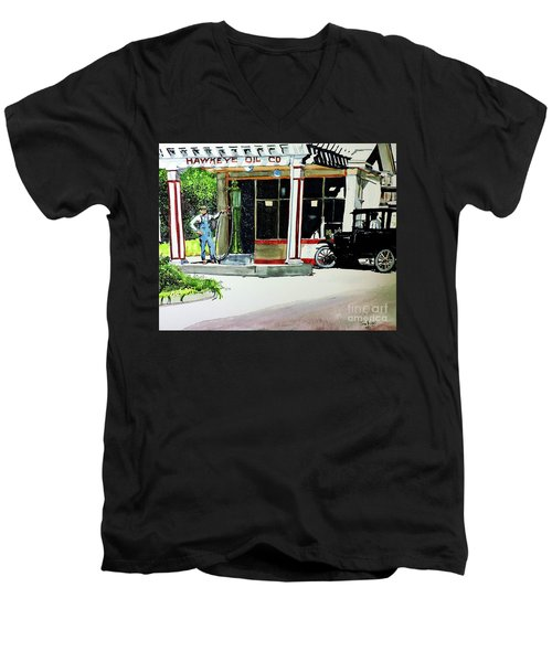 Men's V-Neck T-Shirt featuring the painting Hawkeye Oil Co by Tom Riggs