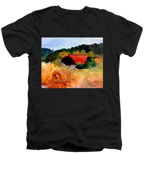 Men's V-Neck T-Shirt featuring the painting Hayrolls by Gail Kirtz