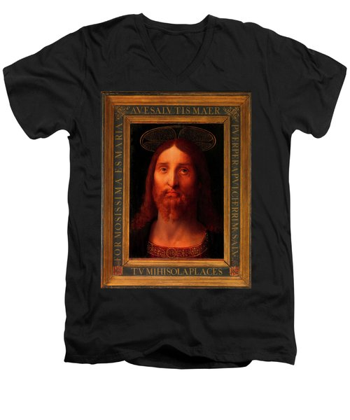 Men's V-Neck T-Shirt featuring the painting Head Of Christ                                   by Fernando De La Almedina