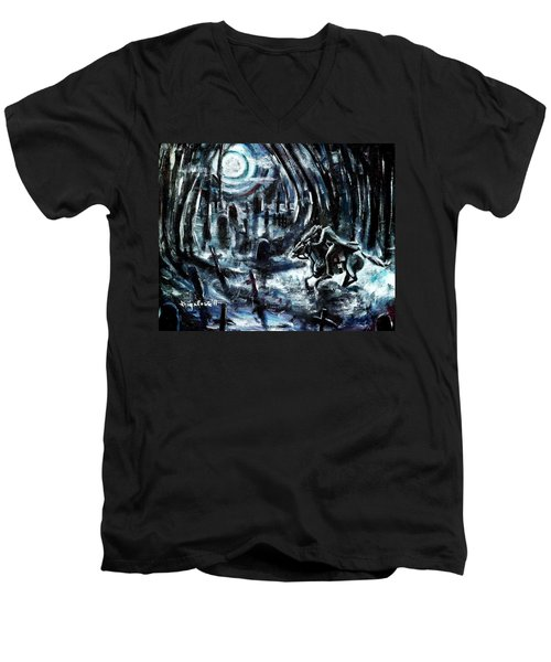 Men's V-Neck T-Shirt featuring the painting Headless In The Hollow by Shana Rowe Jackson