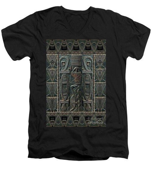 Men's V-Neck T-Shirt featuring the digital art Heart Of Africa by Lora Serra