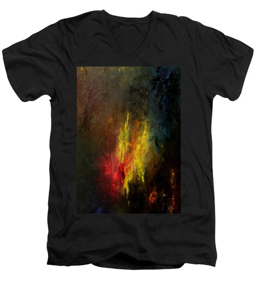 Men's V-Neck T-Shirt featuring the painting Heart Of Art by Rushan Ruzaick