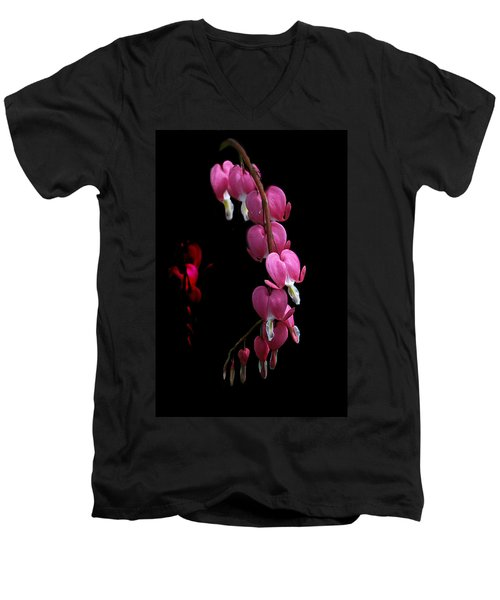 Men's V-Neck T-Shirt featuring the photograph Hearts In The Dark by Susan Capuano